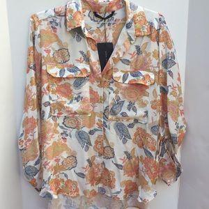 Stunning ZARA Jacobean colorful print blouse
